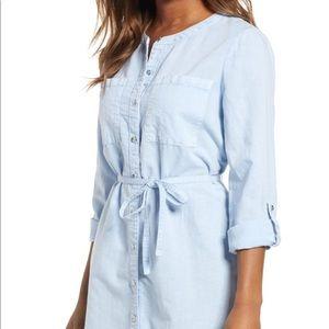 🆕 Caslon Petite SM Blue Linen Cotton Shirtdress